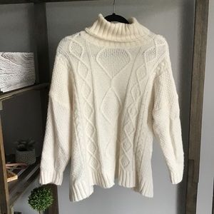 Aerie Cream Chunky Knitted Turtle Neck Sweater